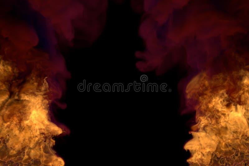 Magiczny rozjarzony ogień na czerni, rama z ciężkim dymem pożarnicza 3D ilustracja - ogień od lewy i prawy kątów - ilustracja wektor