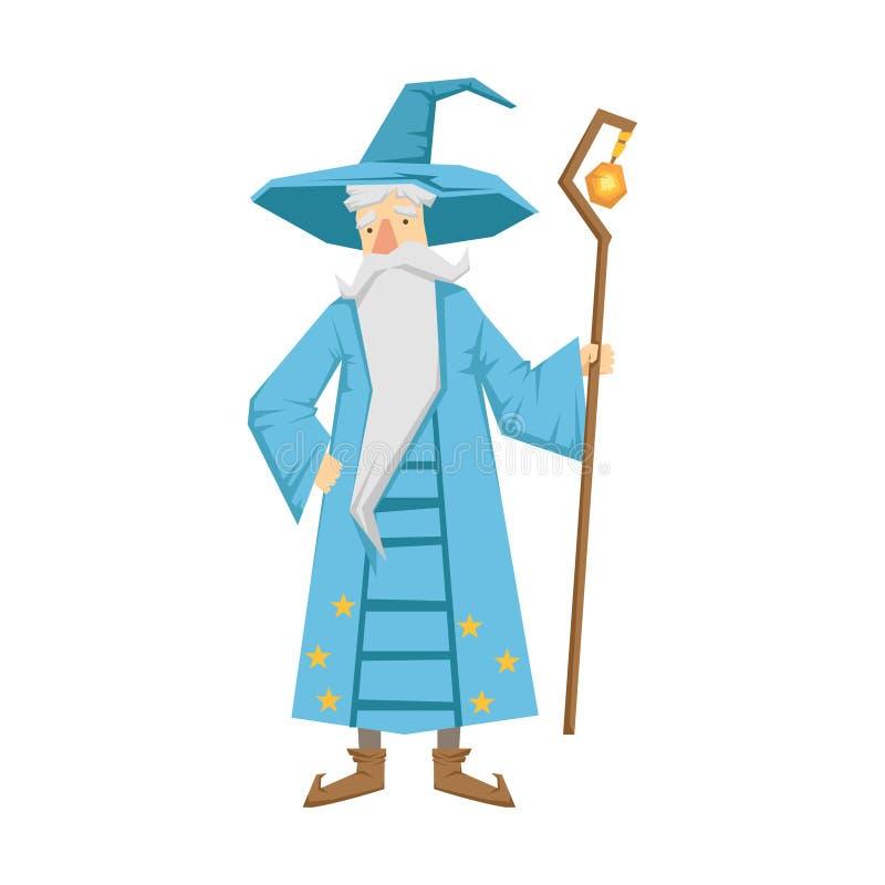 Magiczny stary człowiek z magia personelem Kolorowa bajka charakteru ilustracja royalty ilustracja