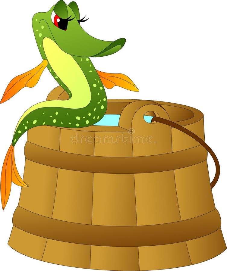 Magiczny szczupak siedzi na krawędzi drewnianego wiadra woda ilustracja wektor