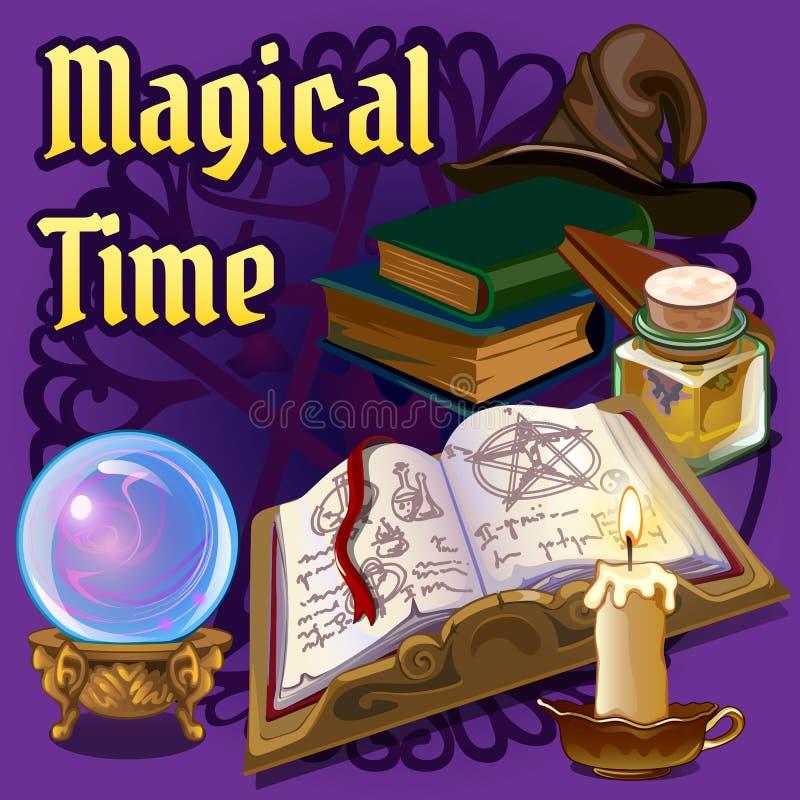 Magiczny ustawiający z starą książką, świeczką i innymi elementami, royalty ilustracja