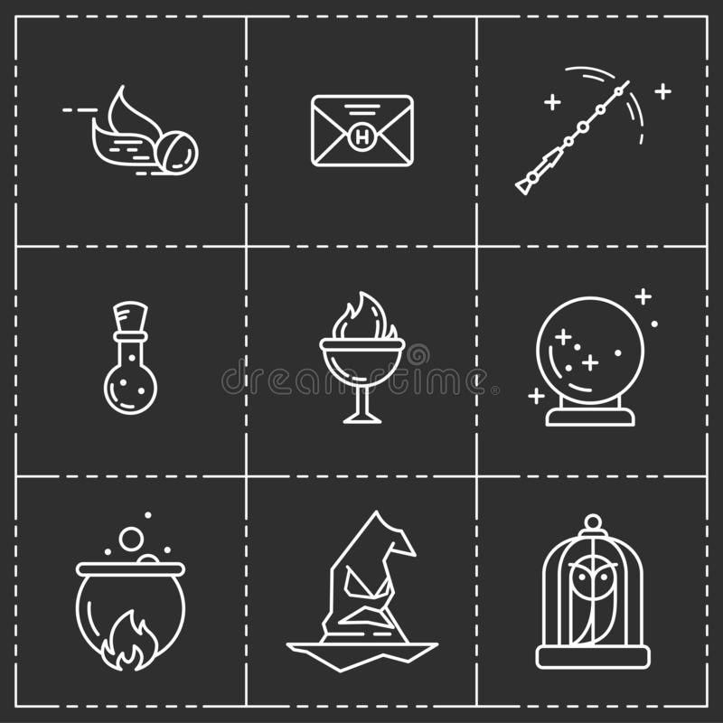 Magiczny wektorowy ikona set ilustracji