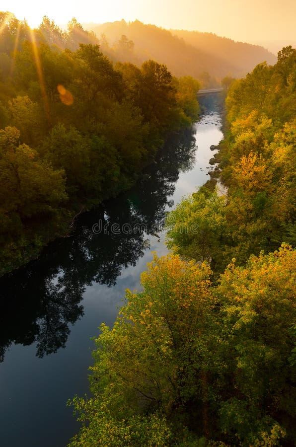Magiczny wschód słońca nad głębokim mgłowym jesień lasem wzdłuż rzeki Pierwszy promienie słońce przez mgły i drzew na skłonach Sc obrazy stock