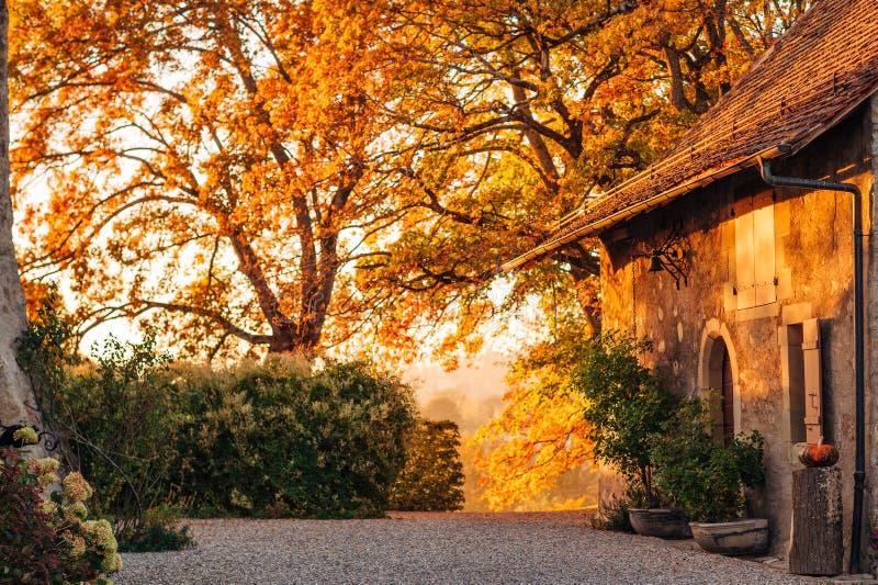 Magiczny złoty światło nad starym małym cosy domem obraz royalty free