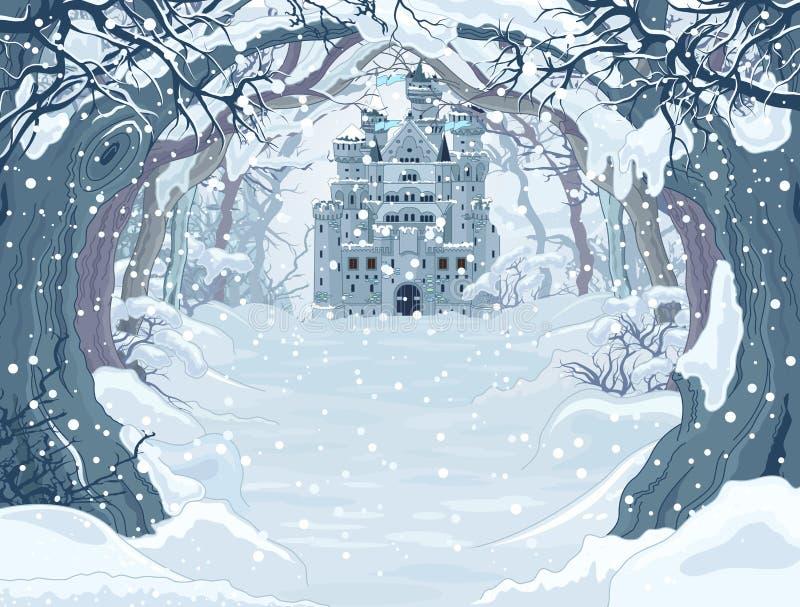 Magiczny zima kasztel ilustracji