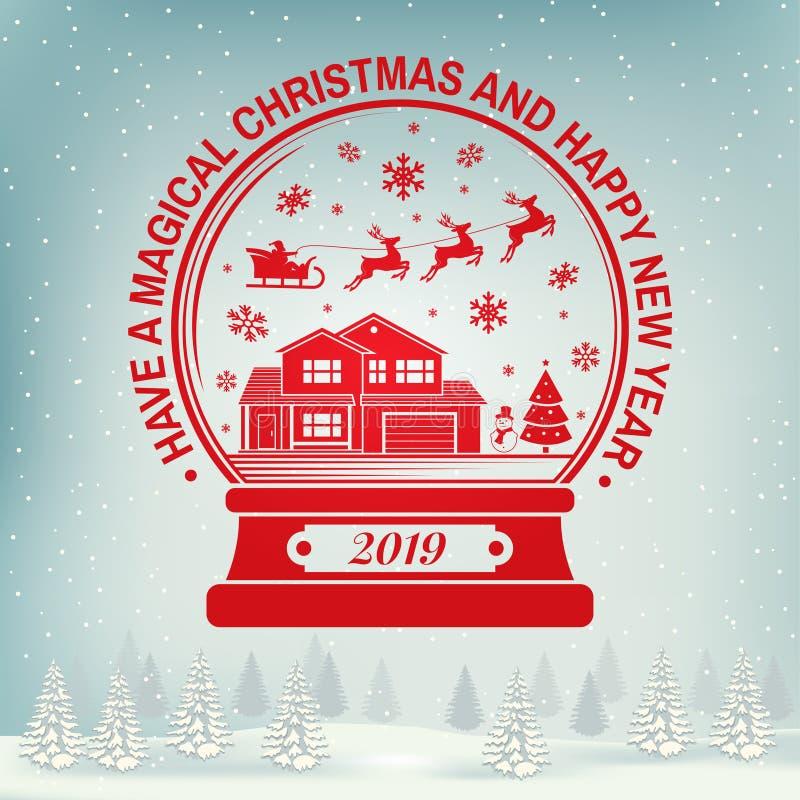 Magicznych boże narodzenia i Szczęśliwego nowego roku znaczek, majcher ustawiający z płatkami śniegu, boże narodzenie śniegu kula royalty ilustracja