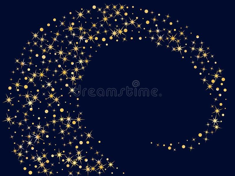 Magicznych gwiazd złota błyskotliwość błyska wektoru wzór Pozaziemska noc ilustracji