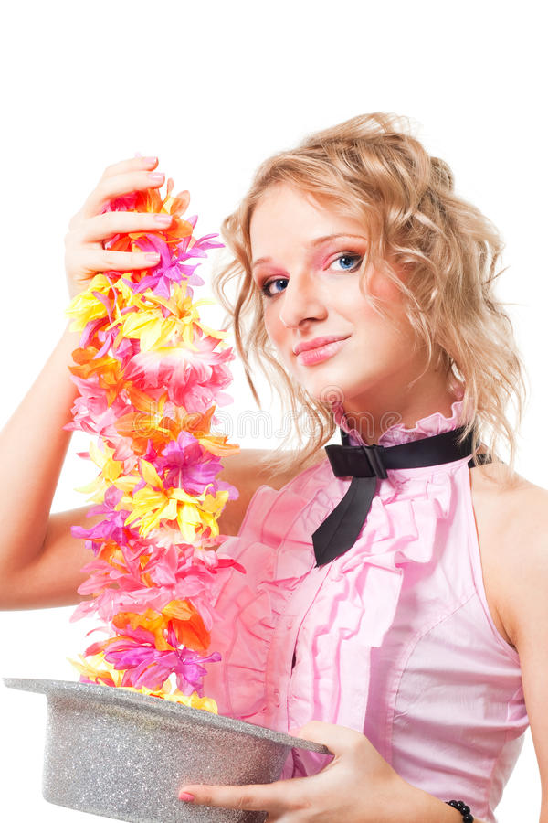 Magie avec le chapeau et les fleurs photo libre de droits