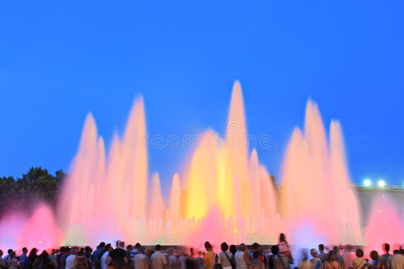 magie de fontaine de Barcelone photo stock