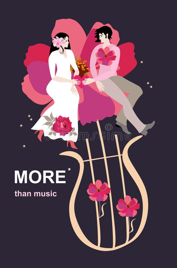 Magie de l'amour Les jeunes mariés s'asseyent sur une grande horticulture hors d'une lyre magique d'isolement sur un fond noir illustration stock