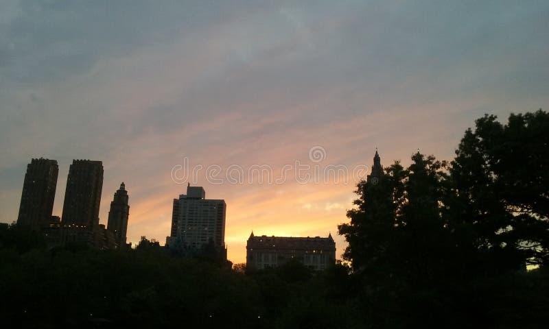 Magie New York City de coucher du soleil de Nyc Central Park photographie stock