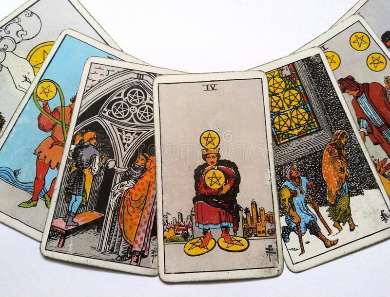 Magie occulte de divination de cartes de tarot photographie stock libre de droits