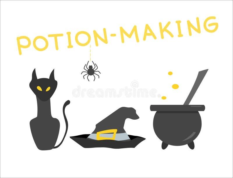 Magie, Trank-Herstellung und Weissagung lizenzfreie abbildung
