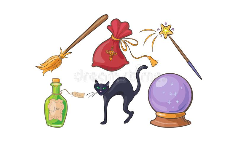 Magie- und Bannzeichen stellten, magische Elemente Halloween-Feiertags, Glaskugel, Besen, Trankflasche, Vektor der schwarzen Katz lizenzfreie abbildung