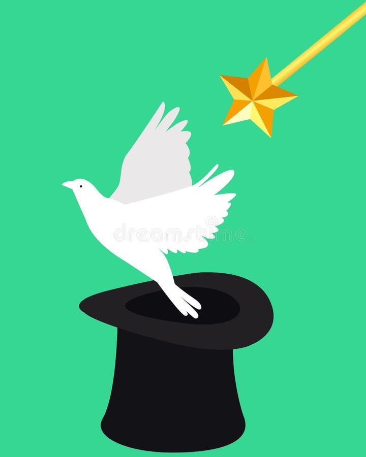 Magie und Taube lizenzfreie abbildung
