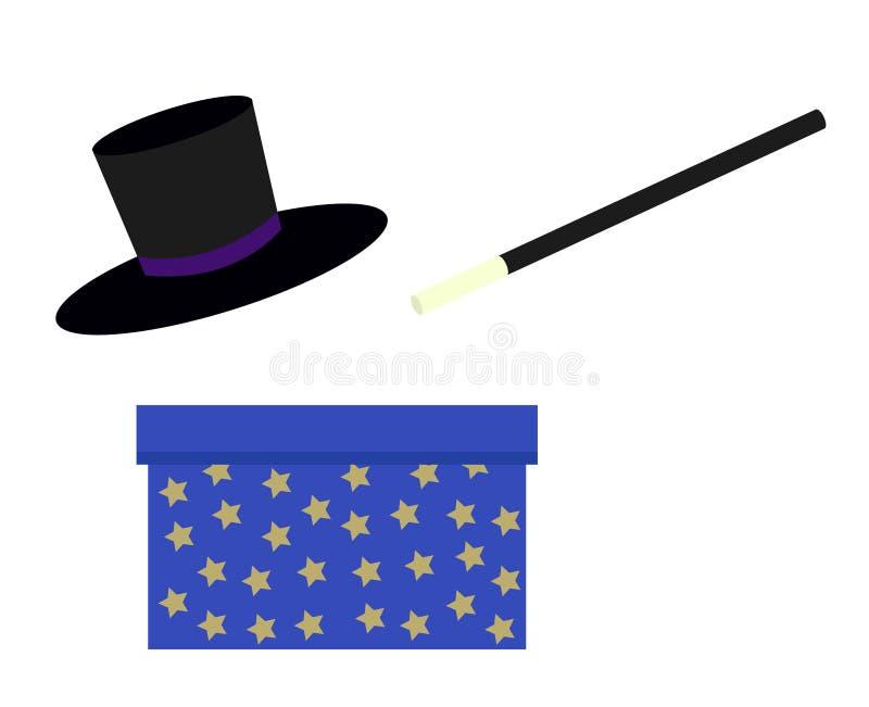 Magier, blauer Bogen des magischen Stabs mit Sternen und schwarzer Hut des Zauberers ist lizenzfreie abbildung