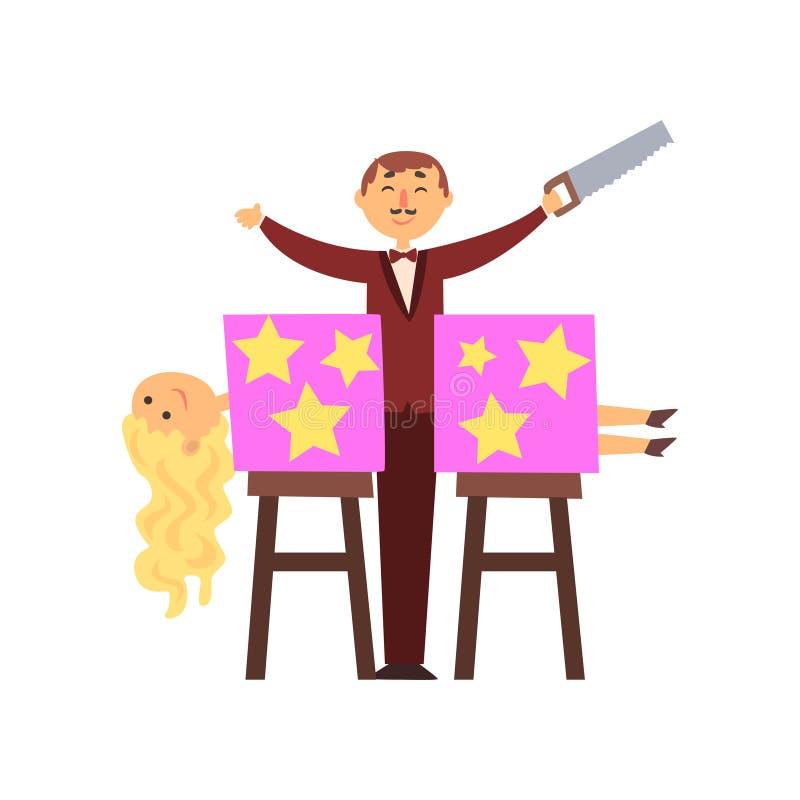 Magier sägte behilflichen Körper in zwei Hälften Trick mit magischem Kasten Karikaturmanncharakter in der eleganten Klage mit sah vektor abbildung
