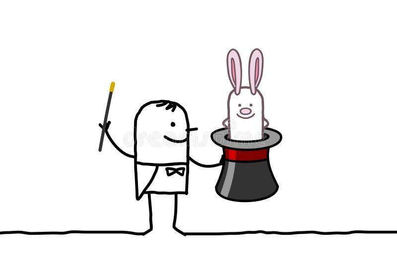 Magier u. Kaninchen stock abbildung