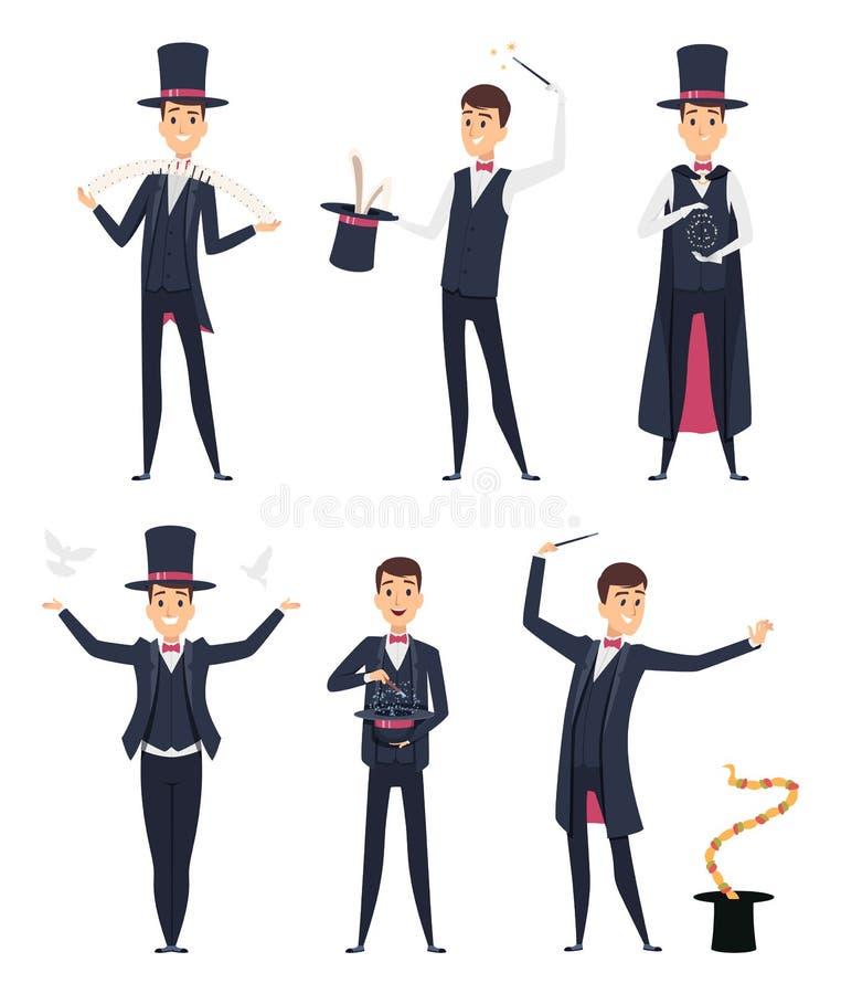 magier Zauberkünstler-Vektorzeichentrickfilm-figuren des Zirkusimpresarioschauspielers männliche stock abbildung