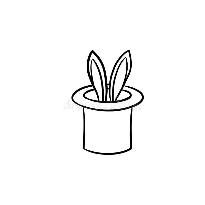 Magierhut mit gezeichneter Skizzenikone des Kaninchens Hand stock abbildung