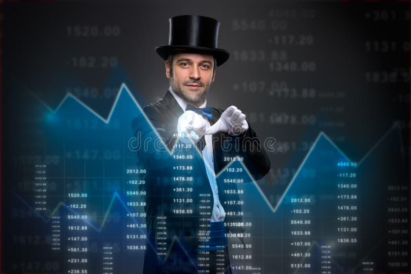 Magiermagie trifft auf Finanzen zu stockbilder