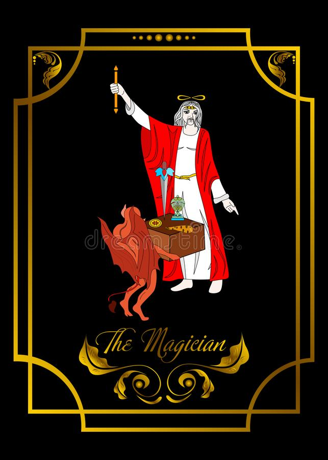 Magiermannkarte ist magische Karte für Wasserbrotwurzel mit Mann 2 lizenzfreie abbildung