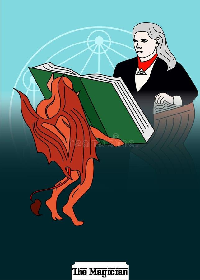 Magiermannkarte ist magische Karte für Wasserbrotwurzel mit Mann 4 vektor abbildung