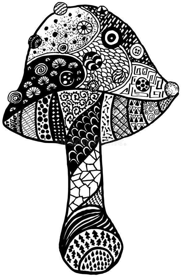 Magii Amanita Doodle Pieczarkowy czerń odizolowywający zdjęcia royalty free
