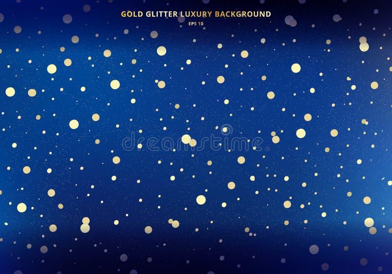 Magii astronautyczna złocista błyskotliwość na zmroku - niebieskiego nieba tło z złotymi lśnienie okręgami rozrzucony pył ilustracja wektor