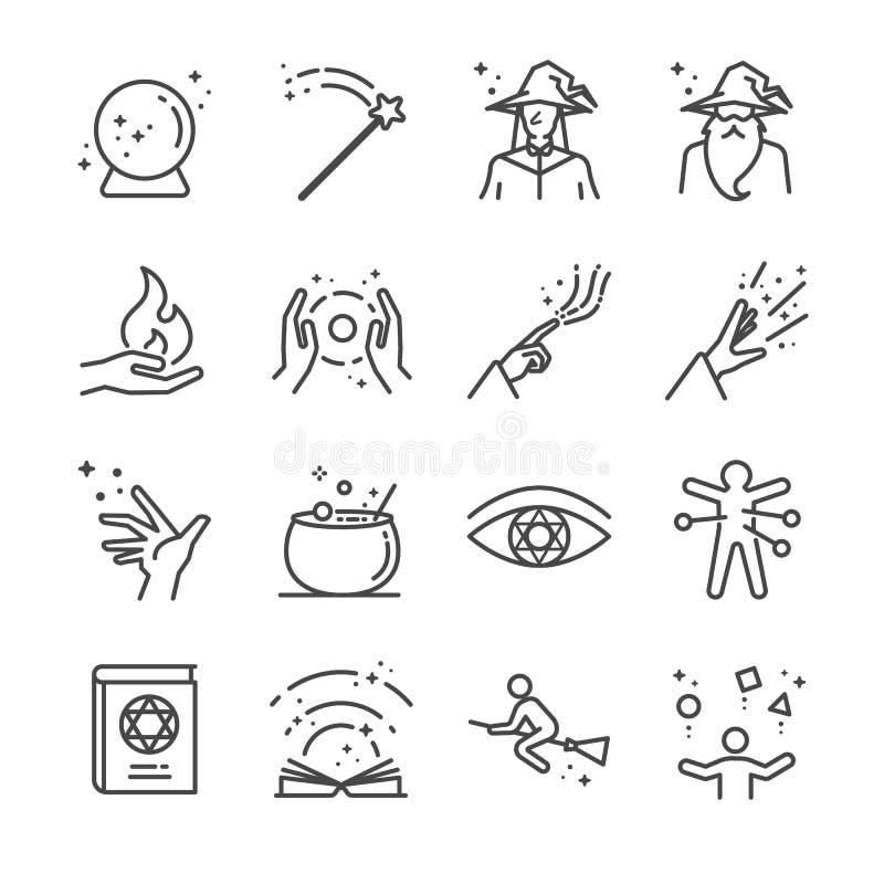 Magii i czary ikony ustawiać ilustracja wektor