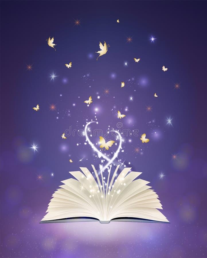 Magii książka, życzenie przychodzi prawdziwego pojęcie ilustracja wektor
