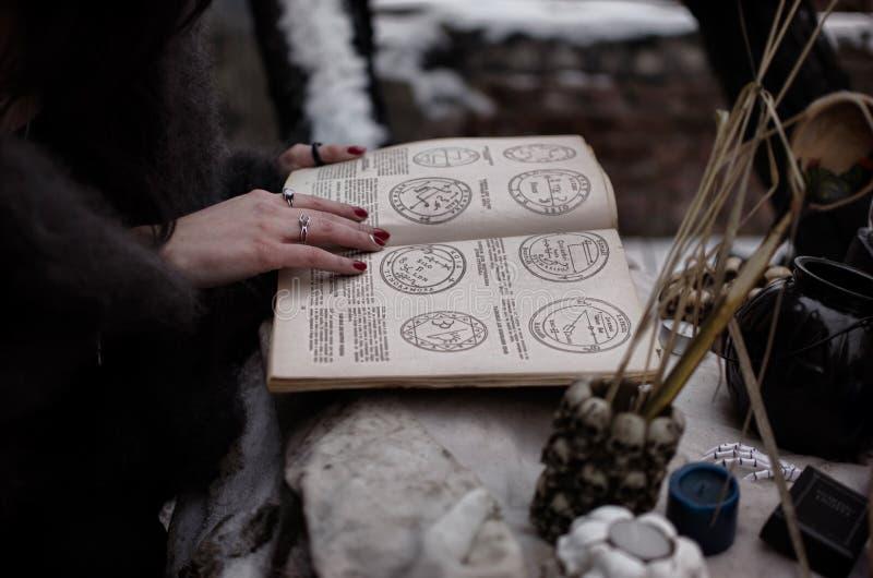 Magii książka czarownica obraz royalty free