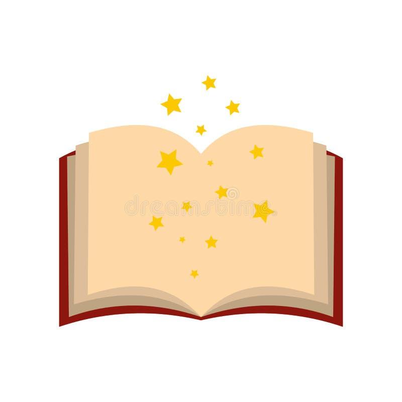 Magii książka czary otwiera mieszkanie ilustracja wektor