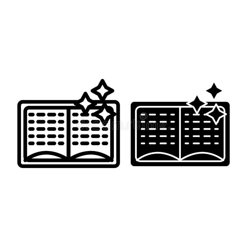 Magii książka z gwiazdy linią i glif ikoną Otwiera książkową wektorową ilustrację odizolowywającą na bielu Czary książki konturu  royalty ilustracja