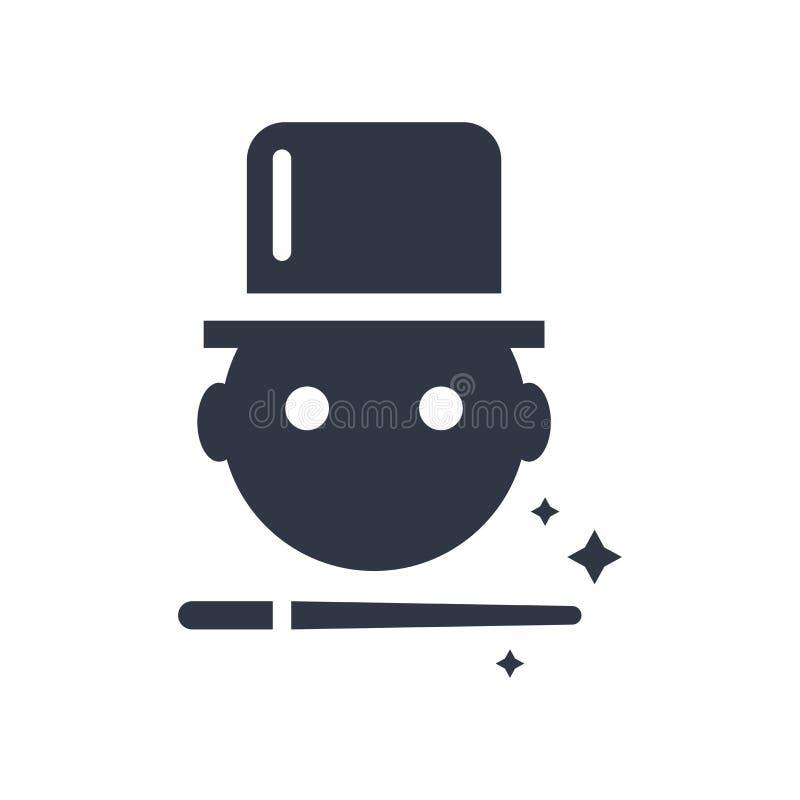 Magik chłopiec ikony wektoru znak i symbol odizolowywający na białym tle, magik chłopiec logo pojęcie royalty ilustracja