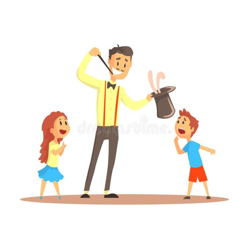 Magik ciągnie out królika od jego odgórnego kapeluszu przed szczęśliwą ludzi, cyrka lub ulicy aktora kolorową kreskówką wyszczegó ilustracja wektor