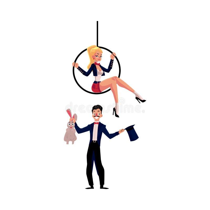 Magik czaruje królika z kapeluszu, akrobata na powietrznym obręczu ilustracji