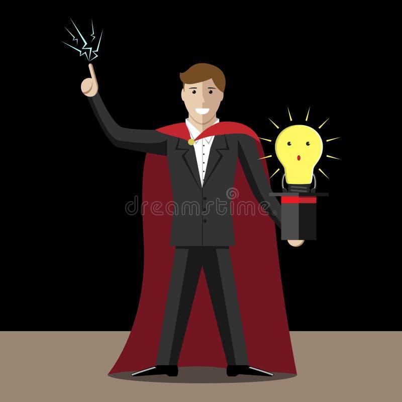 Magik i żarówka ilustracja wektor