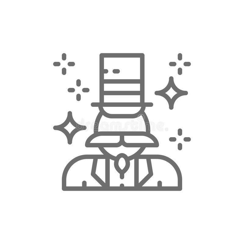 Magik, iluzjonista kreskowa ikona royalty ilustracja