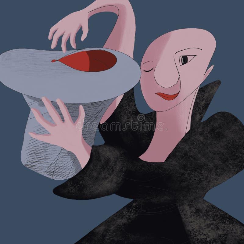 Magik, iluzjonista z kapeluszem w ręce ilustracji