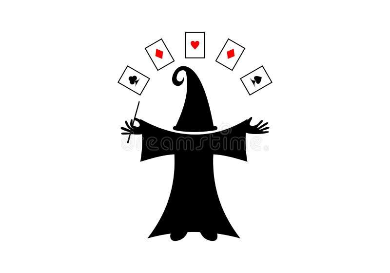 Magik karty i kapeluszu logo pojęcie ilustracja wektor