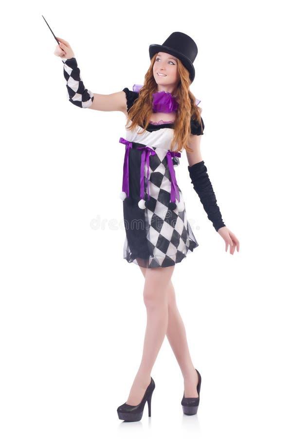 Magik kobieta z różdżką fotografia stock