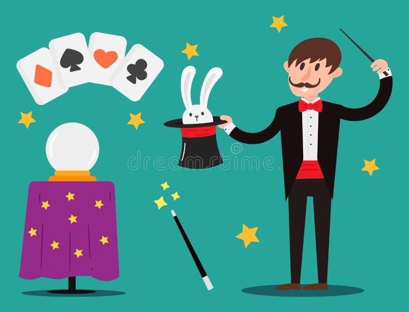 Magik kuglarki iluzjonisty charakteru sztuczek juggler zaklinacza przedstawienia kreskówki wektorowy ilustracyjny magiczny mężczy ilustracja wektor