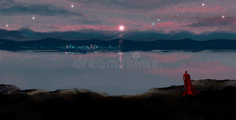 Magik patrzeje nocy miasto w księżyc świetle w czerwonym żakiecie, digita fotografia stock