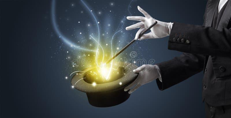 Magik ręka czaruje cud od butli obraz royalty free