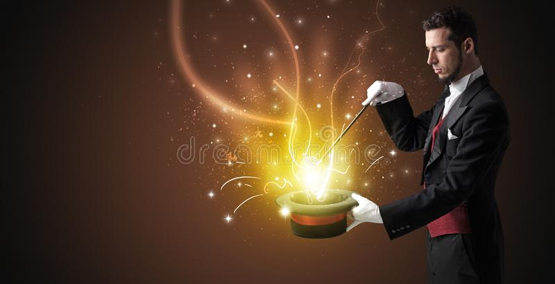 Magik ręka czaruje cud od butli royalty ilustracja