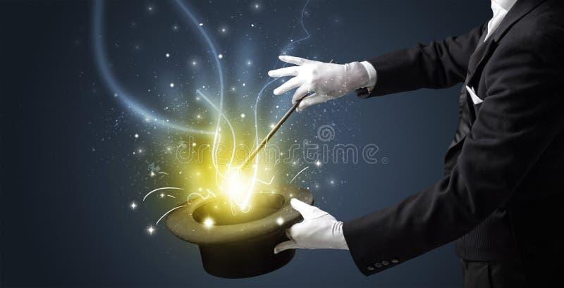 Magik ręka czaruje cud od butli fotografia stock