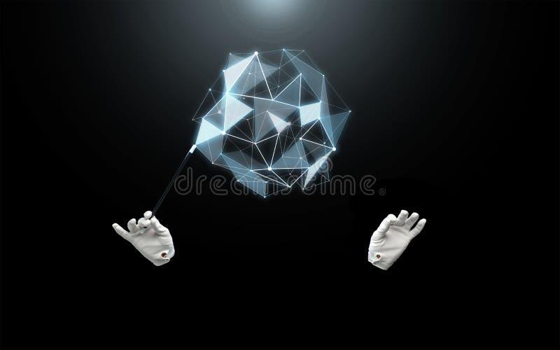 Magik ręki z magiczną różdżka seansu sztuczką ilustracji