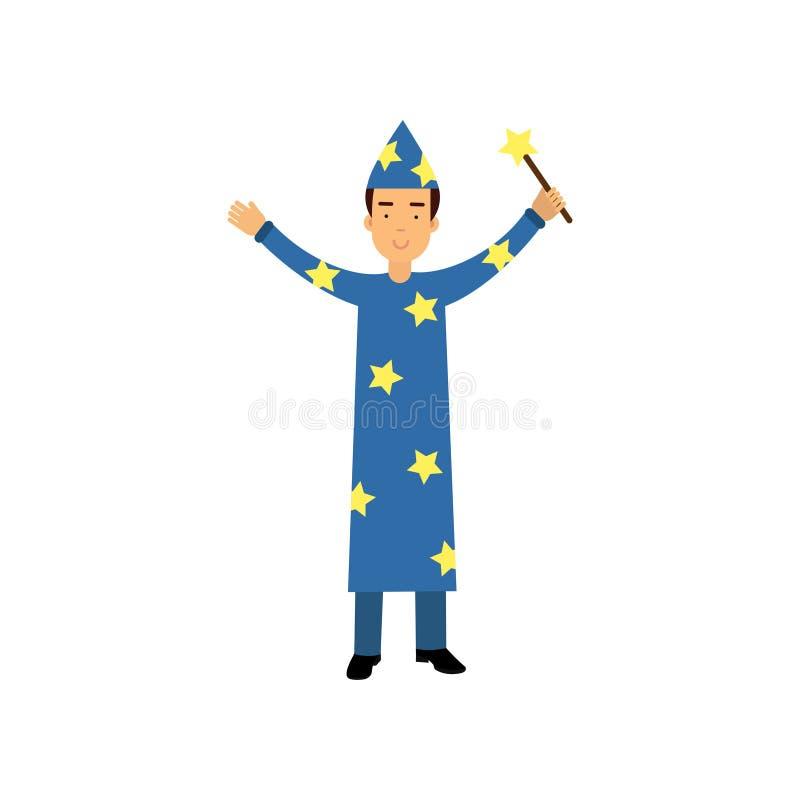 Magik w błękitnej nakrętce z gwiazdami trzyma magiczną różdżkę i kostiumu, cyrkowego wykonawcy wektoru ilustracja ilustracja wektor