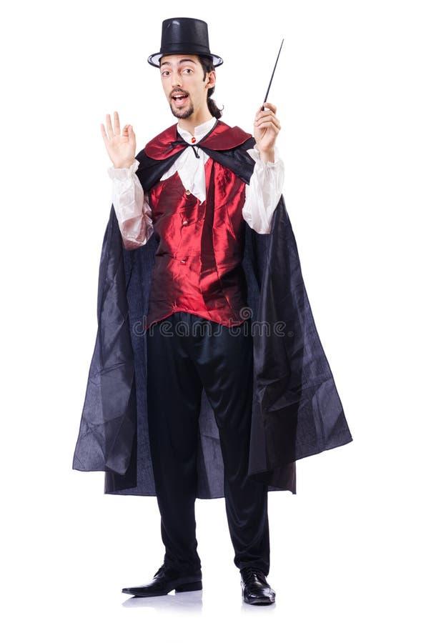 Magik z jego magiczną różdżką obraz royalty free