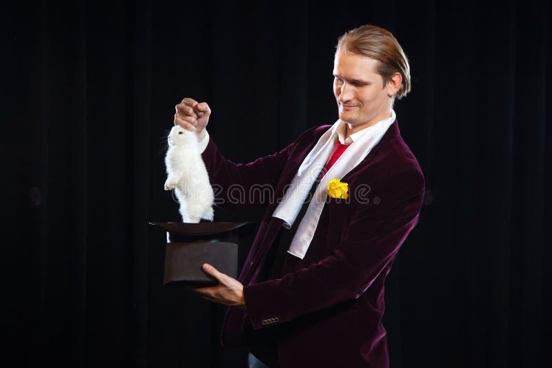 Magik z królikiem, Juggler mężczyzna, Śmieszna osoba, Czarna magia, złudzenie na czarnym tle ciągnie ucho zdjęcie stock